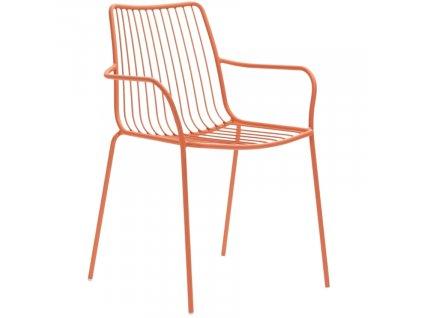 Cihlová kovová jídelní židle Nolita 3656 s područkami