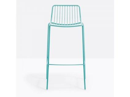 Tyrkysová kovová barová židle Nolita 3658 75 cm