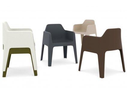 Krémová plastová jídelní židle Plus 630