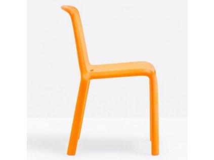 Mangově žlutá plastová jídelní židle Snow 300