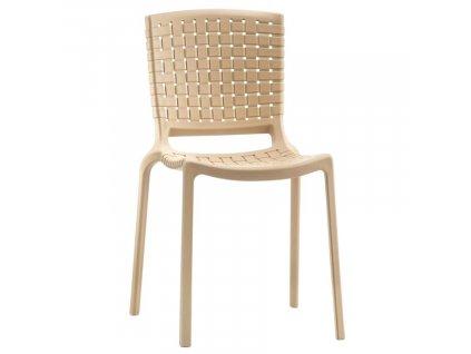Krémová plastová jídelní židle Tatami 305