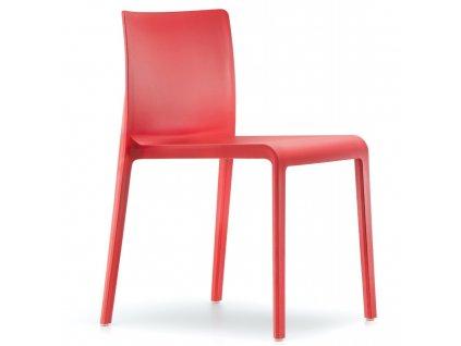 Červená plastová jídelní židle Volt 670