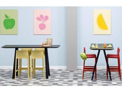 Oranžová plastová barová židle Volt 677 66 cm