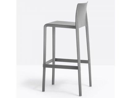 Tmavě šedá plastová barová židle Volt 678