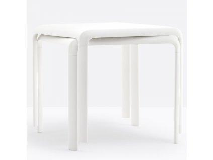 Bílý jídelní stůl Snow 80x80 cm