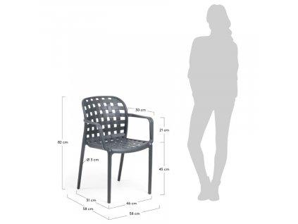 Tmavě šedá zahradní plastová židle LaForma Onha