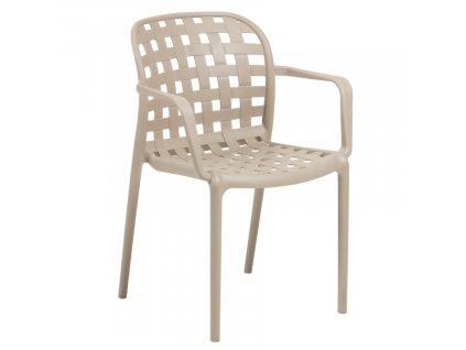 Krémová zahradní plastová židle LaForma Onha