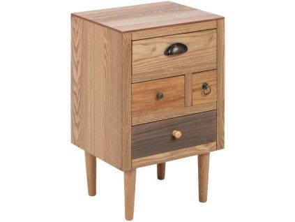 Hnědý dřevěný noční stolek Emer, dýhovaná MDF deska, topolové dřevo, odstíny hnědé barvy