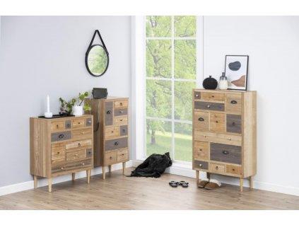 Dřevěná komoda Emer 81 cm, dýhovaná MDF deska, topolové dřevo, odstíny hnědé barvy