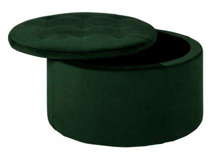 Tmavě zelený taburet s úložným prostorem Tate