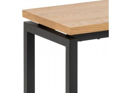Přírodní dřevěná lavice Jayden s černou podnoží, lakovanédubové dřevo, přírodní barva; lakovaný kov, černá barva