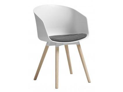 Bílošedá plastová čalouněná jídelní židle Durana s dubovou podnoží