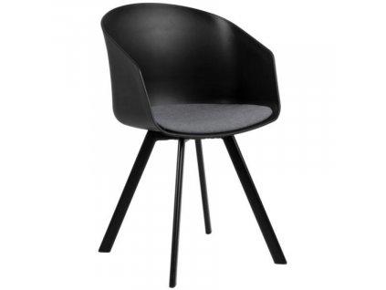 Černo/šedá jídelní židle Durana, polypropylen, látka, lakovaný kov, šedá, černá