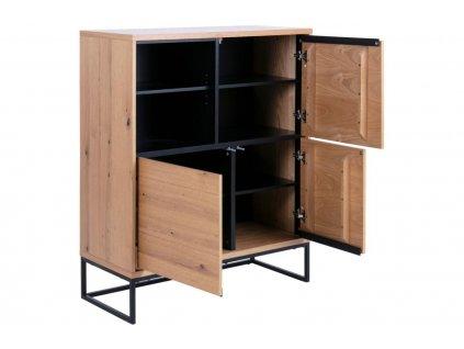 Dřevěná komoda Jayden 124,7 cm, lakovanédubové dřevo, přírodní a černá barva; lakovaný kov, černá barva