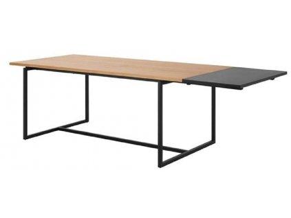 Černá doplňková deska ke stolu Jayden, lakované dubové dřevo