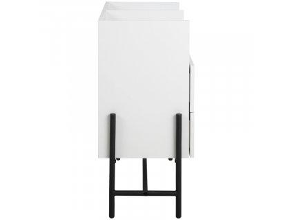 Bílá komoda Maddison 89,9 cm, lakovaná MDFdeska,bílá barva; lakovaný kov, černá barva
