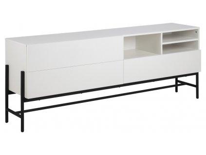 Bílá komoda Maddison 70 cm, lakovaná MDFdeska, bílá barva; lakovaný kov, černá barva