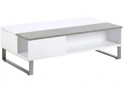 Betonový bílo/šedý konferenční stolek Stor II 110 cm, MDF, lakovaný, betonová struktura chromovaný kov
