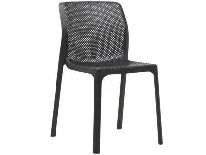 Antracitově plastová jídelní židle Bit
