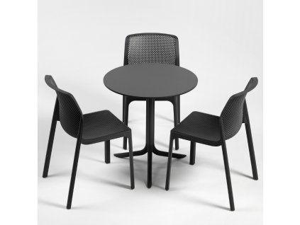 Antracitově šedá plastová zahradní židle Loft II.
