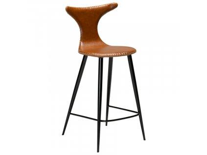 Hnědá koženková barová židle DAN-FORM Dolphin 97 cm