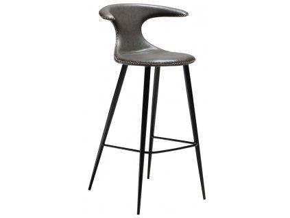 Šedá koženková barová židle DAN-FORM Flair, 101 cm