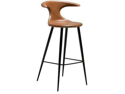Hnědá kožená barová židle DanForm Flair 75 cm