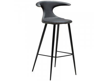 Černá kožená barová židle DAN-FORM Flair 75 cm