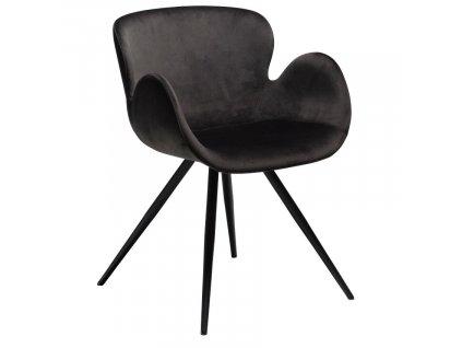 Černá sametová jídelní židle DanForm Gaia