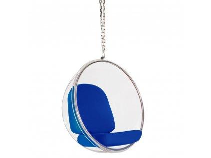Závěsné křeslo Ball chair s modrými polštáři