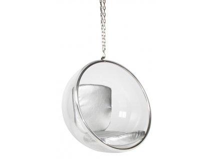 Designové závěsné křeslo Ball chair se stříbrnými polštáři
