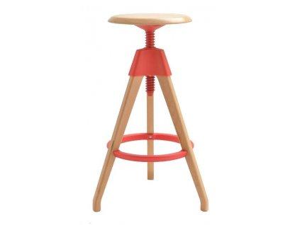 Červená dřevěná barová židle Selina