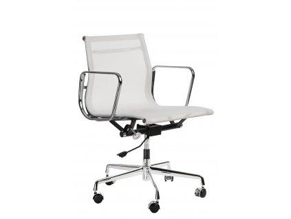 Bílá čalouněná konferenční židle Phelps s chromovanou podnoží