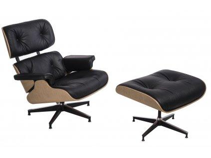 Kožené křeslo v dubovém provedení Lounge chair s podnožkou
