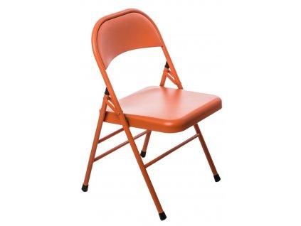 Oranžová kovová skládací židle Frosty