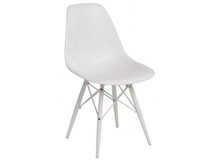 Bílá plastová židle DSW s bílou podnoží