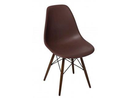 Hnědá plastová židle DSW s tmavou podnoží