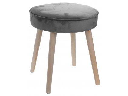 Šedá sametová stolička Horacio s dřevěnou podnoží