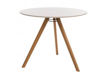 Bílý dřevěný kulatý jídelní stůl Connie