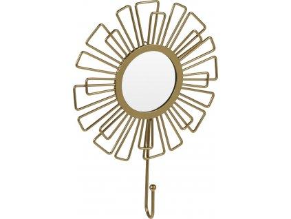 Zlaté závěsné kovové zrcadlo s věšákem Sion