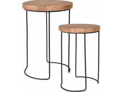 Set dvou kulatých kovových odkládacích stolků Hunter s masivní dřevěnou deskou z teakového dřeva