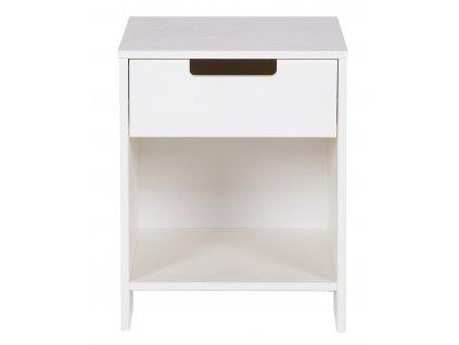 Bílý dřevěný noční stolek Berdi 40 x 33 cm