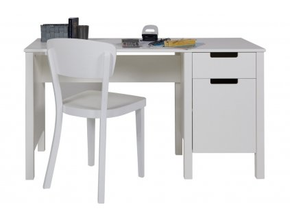 Bílý dřevěný psací stůl Berdi 135 x 58 cm