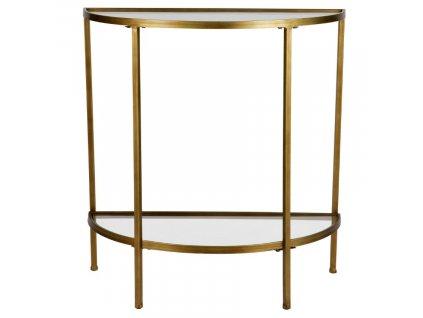 Skleněný odkládací stolek Antique 75 cm s mosazným rámem