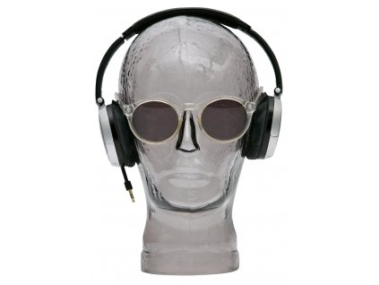 Kouřově šedá skleněná dekorace hlava Crystal držák na sluchátka