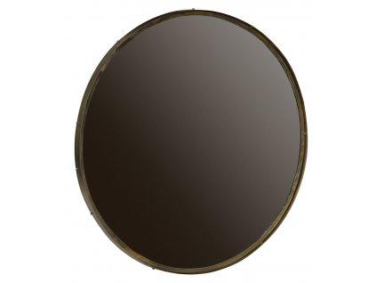 Zlaté kovové kulaté zrcadlo Antique 100 cm s mosazným rámem