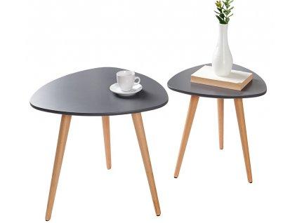 Set dvou šedých odkládacích stolků Deux