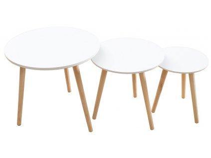 Set tří bílých odkládacích stolků Deux