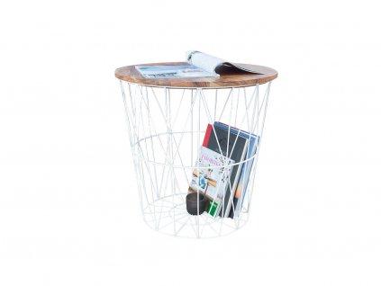 Bílý odkládací stolek Ronde 42 cm s dřevěnou deskou