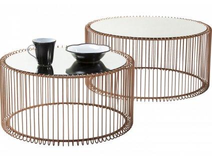 Set dvou měděných konferenčních stolků Wire
